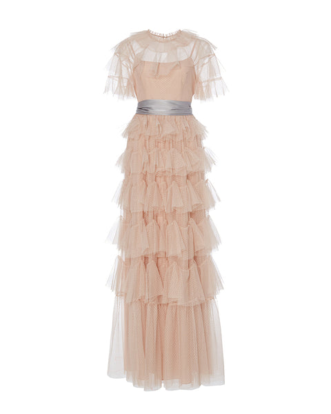Scallop Tiered Tulle Gown