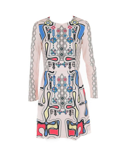 Pink Abstract Print Long-Sleeved Mini Dress