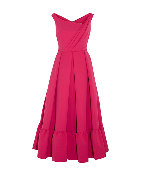 Fuschia Stretch-Crepe Midi Dress