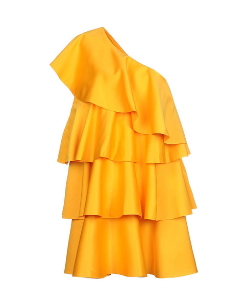Saffron One-Shoulder Ruffle Dress