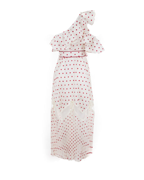 Frilled Polka Dot Satin Maxi Dress