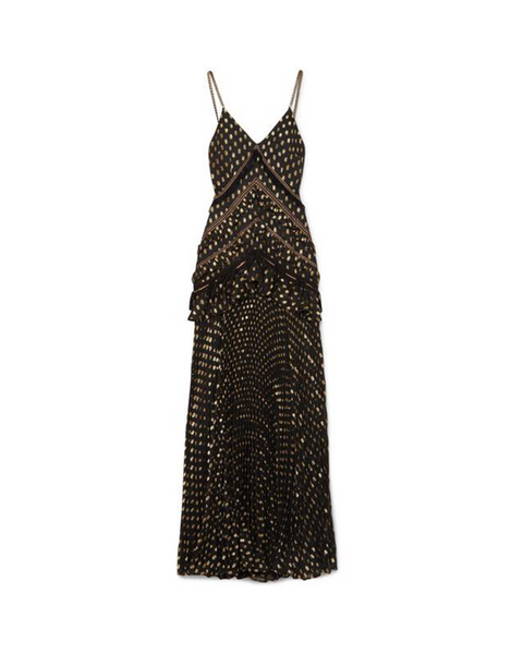 Black and Gold Metallic Polka-dot Maxi Dress