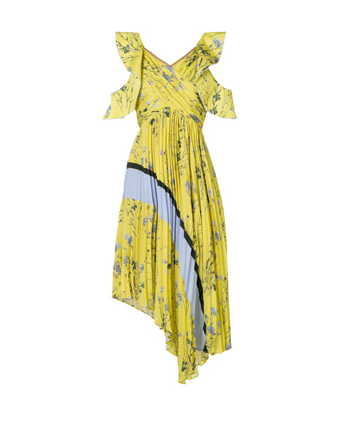 Yellow Floral Print Pleated Dress