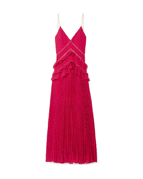 Red Swiss-Dot Pleated Maxi Dress