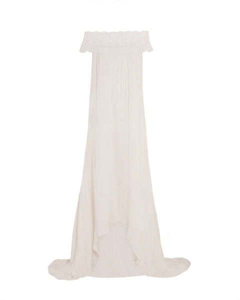 Bardot Lace Trim Gown