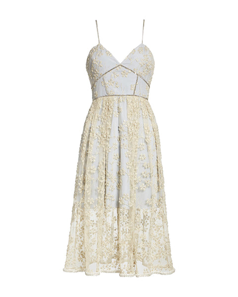 Azalea Embroidered Mesh Chain-Trimmed Dress