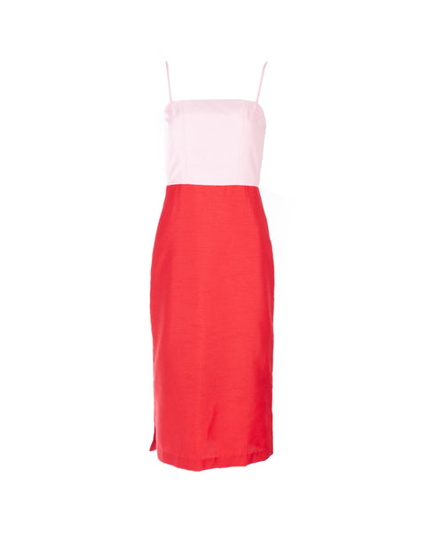 Enzo Pink And Red Midi Dress