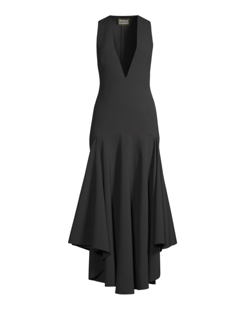 Black Plunging Asymmetric Hem Gown