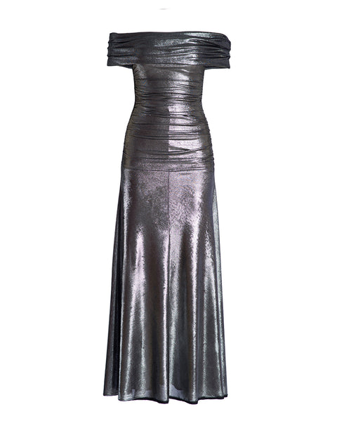 Metallic Off-Shoulder Gown