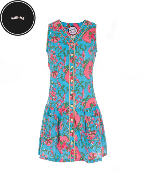 Turquoise And Pink Clavel Dress