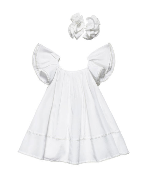 Organic White Ruffled Dress with Hair Clip