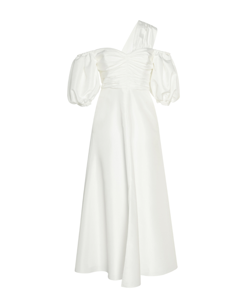 White Taffeta One-Shoulder Dress (UK 6)