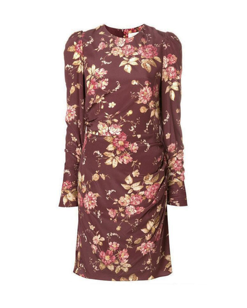 Garnet Floral Draped Mini Dress