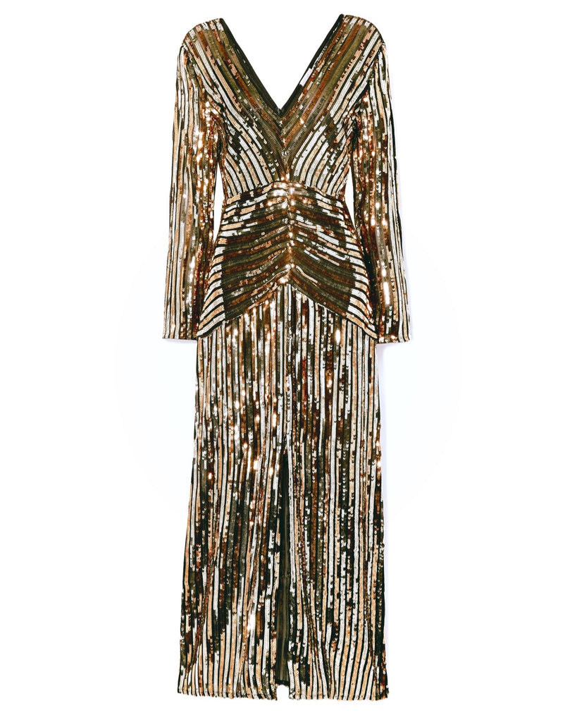 Gold Striped Sequinned Long Sleeve Dress