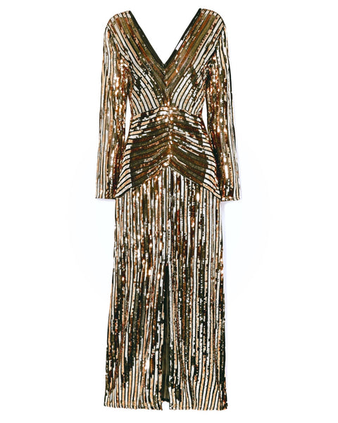 Gold Striped Sequinned Long Sleeve Chiffon Dress