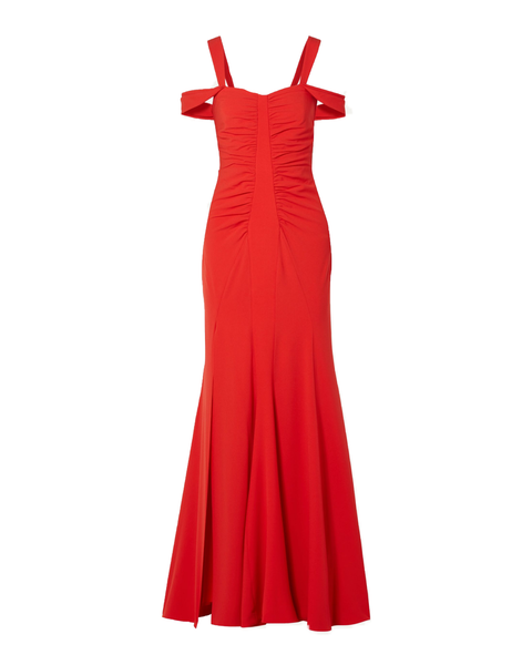 Red Cold-shoulder Ruched Crepe Gown