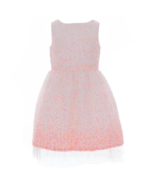 Pink-Orange Speckled Tulle Party Dress