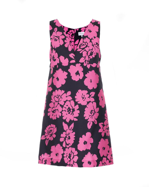 Pink and Black Floral Print Dress