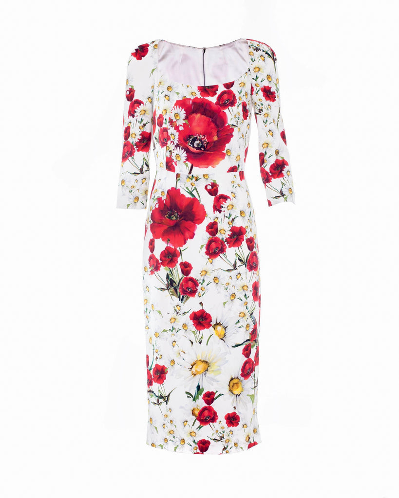 Poppy and Daisy Crepe Midi Dress