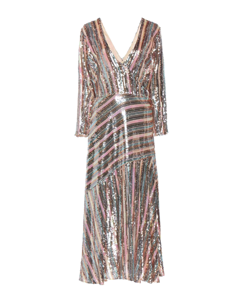 Tyra Striped Sequinned Mock Wrap Midi Dress
