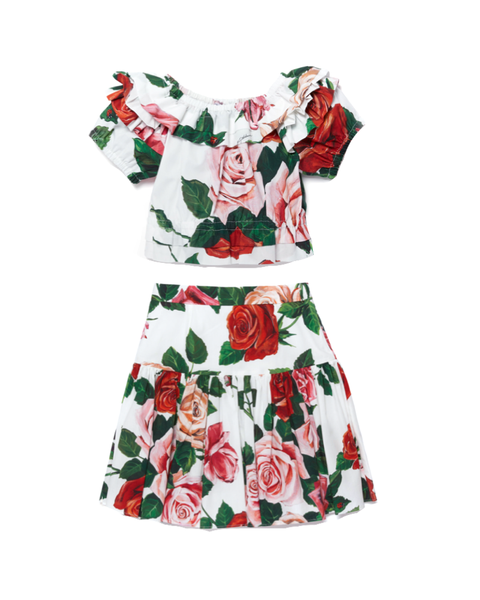 Rose Print Ruffle Blouse and Skirt (2-Piece)