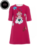 Red Fairytale Embellished Wool Dress