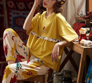 Cotton Short Sleeve Pajamas Set Sleepwear - LINQ LA