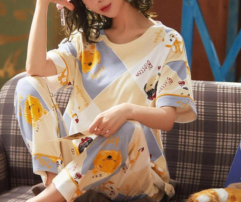 Cotton Printed Round Neck Pajamas Set - LINQ LA