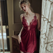 Deep V Lace Satin Sleeping Dress Night Clothes - LINQ LA
