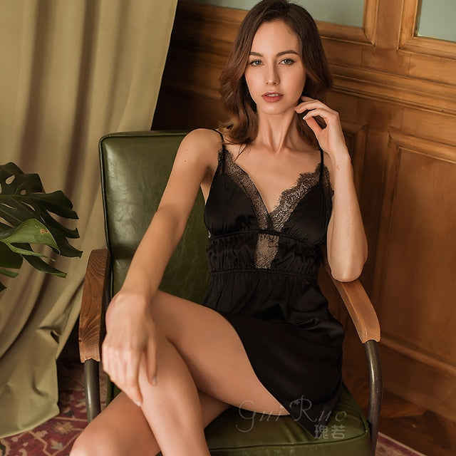 Lace Satin Sleeping Dress Night Clothes - LINQ LA