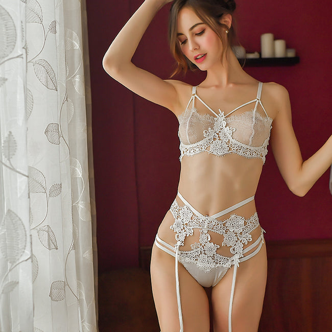 3 Pcs Lace Flower Embroidery Bra Lingerie Garter Sleepwear Set - LINQ LA