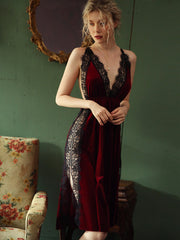 Lace Fall/Spring Gold Velvet Sleepwear - LINQ LA