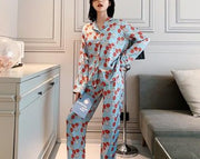 Two Piece Satin Long Sleeve Nightwear Pajamas Sleepwear set - LINQ LA