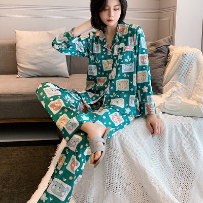 Satin Long Sleeve Pajamas Sleepwear Nightwear set - LINQ LA