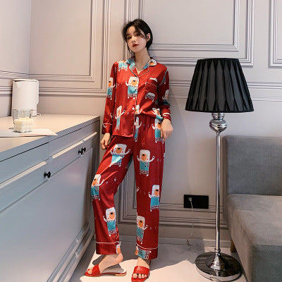 Two Piece Satin Long Sleeve Pajamas Sleepwear Nightwear set - LINQ LA