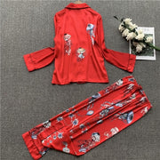 Satin Long Sleeve Women Sleepwear Pajamas Nightwear - LINQ LA