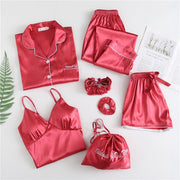 Sleepwear Silk Satin Pajamas Sets 7 Pieces - LINQ LA