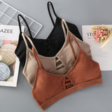 Thin Strap Bralette Seamless Hollow Out Soft Wireless Push Up Bra - LINQ LA