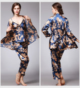 3 Pieces V-Neck Pajamas Set Long Sleeve Sleepwear - LINQ LA