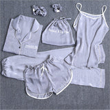 7 Piece Silk Pajamas Set - LINQ LA