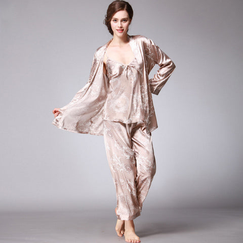 3 Pieces Silk V-Neck Pajamas Set Long Sleeve Sleepwear - LINQ LA