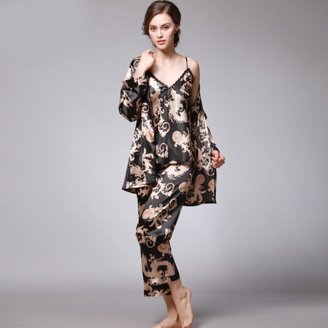 3 Pieces Silk V-Neck Long Sleeve Home wear Sleepwear Pajamas Set - LINQ LA