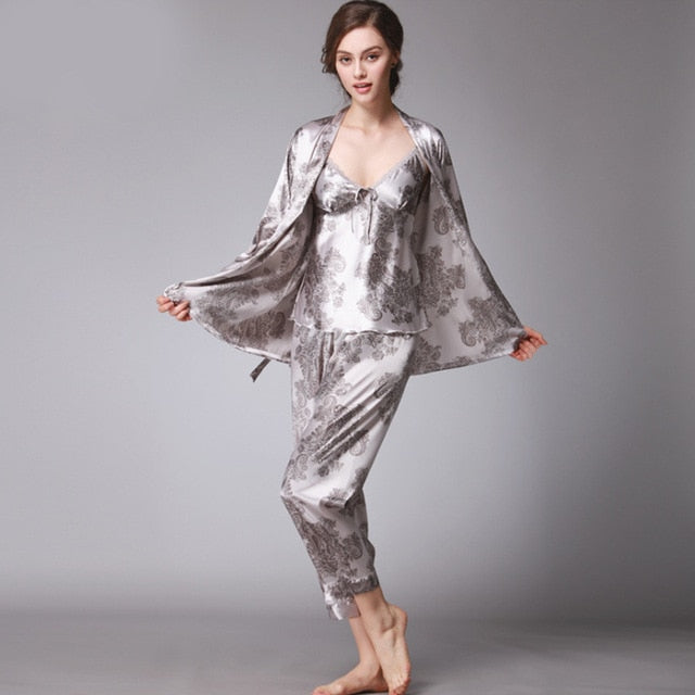 3 Pieces Silk V-Neck Long Sleeve Sleepwear Pajamas Set - LINQ LA