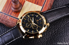Designer Three Dial Genuine Leather Strap Watch