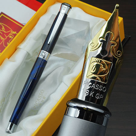 Picasso Luxury blue & silver M nib fountain pen - THE FASHION COCKTAIL