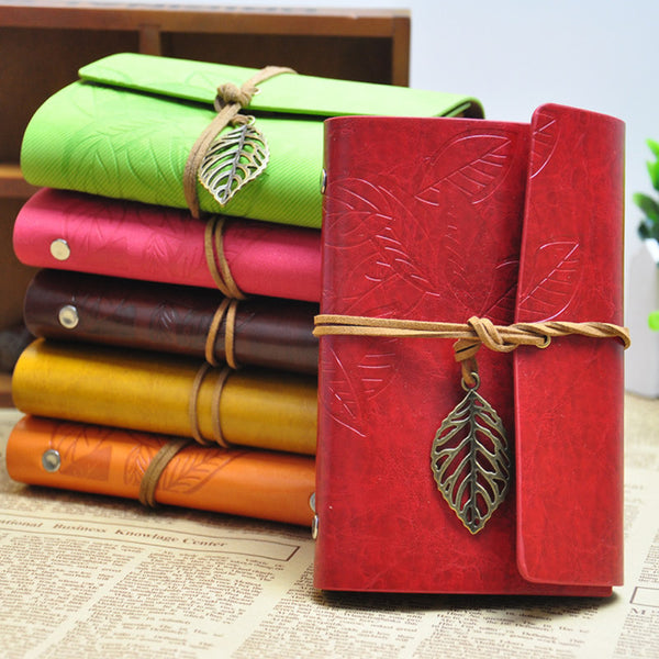 Korean Vintage Leaf Faux Leather Spiral Notebook - THE FASHION COCKTAIL