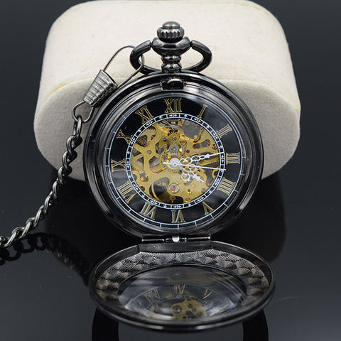 Transparent Mechanical Black Vintage Pendant Pocket Watch - THE FASHION COCKTAIL