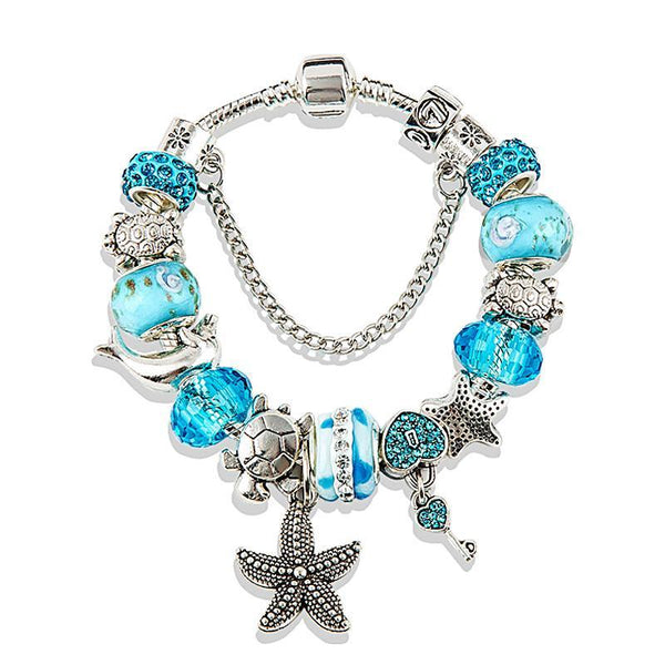 Tortoise Charm Bracelet Blue Crystal - THE FASHION COCKTAIL