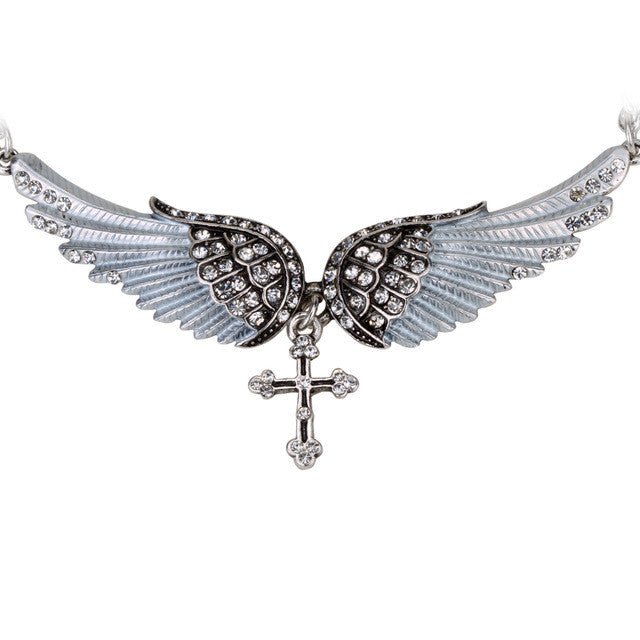 Angel wing cross necklace - THE FASHION COCKTAIL