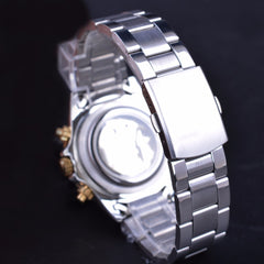 Golden Bezel 3 Dial Mens Watch